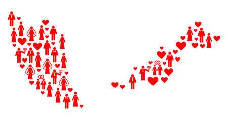 Mosaic map of Malaysia created with red marriage people. Vector lovely geographic abstraction of map of Malaysia with red marriage symbols. Romantic flat design for marriage projects.