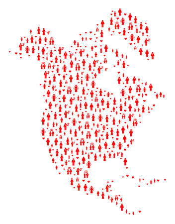 Collage map of North America designed with red lovely people. Vector lovely geographic abstraction of map of North America with red romantic symbols. Romantic flat design for dating purposes.