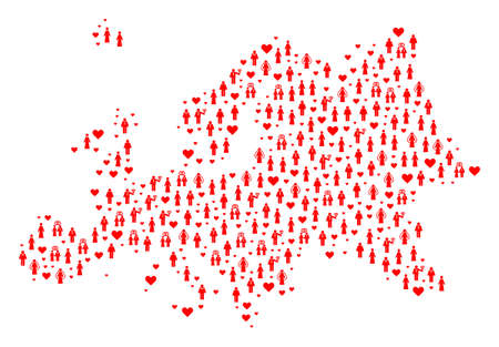 Mosaic map of Europe created with red wedding men and women. Vector lovely geographic abstraction of map of Europe with red wedding symbols. Romantic flat design for wedding projects.