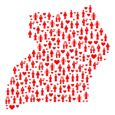 Mosaic map of Uganda created with red lovely men and women. Vector lovely geographic abstraction of map of Uganda with red romantic symbols. Romantic flat design for political purposes.