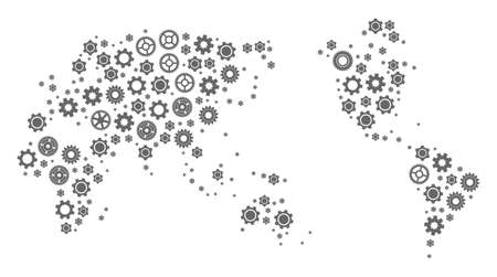 Map of Earth created with gray cog symbols. Vector abstract mosaic of map of Earth with repair symbols. Engineering flat design for repair illustrations. Stock Illustratie
