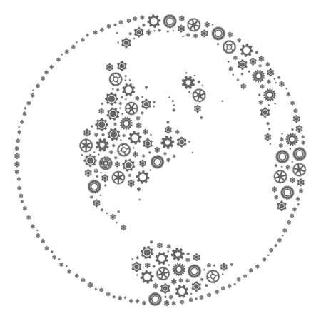 Global map of world designed with gray cog symbols. Vector abstract mosaic of global map of world with work symbols. Engineering flat design for industry posters.