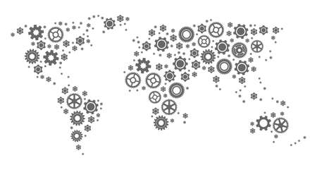 Map of world formed with gray engine symbols. Vector abstract collage of map of world with industry symbols. Engineering flat design for technology projects.