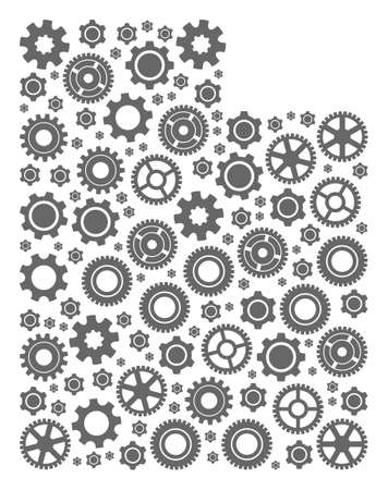 Map of Utah State composed with gray wheel components. Vector abstract collage of map of Utah State with industry symbols. Engineering flat design for industry applications.