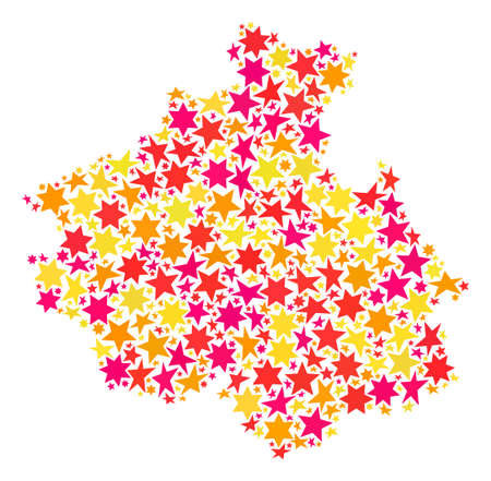 Map of Altai Republic created with colored flat stars. Vector colored geographic abstraction of map of Altai Republic with red, yellow, orange stars. Festive mosaic design for Christmas illustrations. 矢量图像