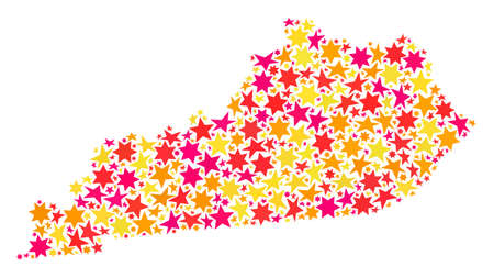 Map of Kentucky State composed with colored flat stars. Vector colored geographic abstraction of map of Kentucky State with red, yellow, orange stars. Festive mosaic design for New Year illustrations.