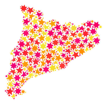 Map of Catalonia formed with colored flat stars. Vector colored geographic abstraction of map of Catalonia with red, yellow, orange stars. Festive mosaic design for New Year illustrations.
