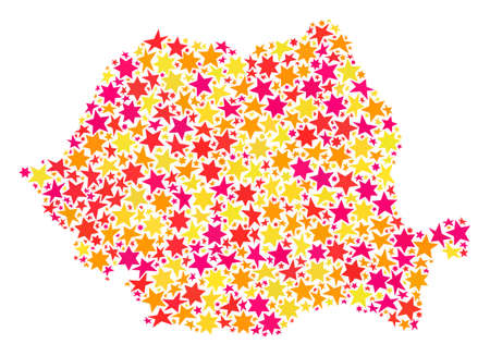Map of Romania created with colored flat stars. Vector colored geographic abstraction of map of Romania with red, yellow, orange stars. Festive collage design for New Year illustrations. Ilustração