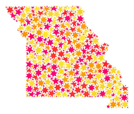 Map of Missouri State designed with colored flat stars. Vector colored geographic abstraction of map of Missouri State with red, yellow, orange stars. Festive collage design for holiday illustrations.