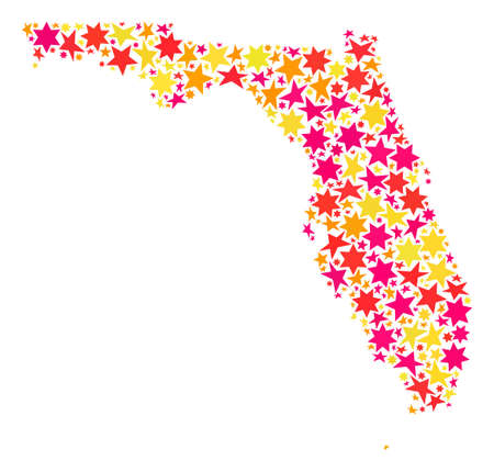 Map of Florida State composed with colored flat stars. Vector colored geographic abstraction of map of Florida State with red, yellow, orange stars. Festive collage design for holiday illustrations.