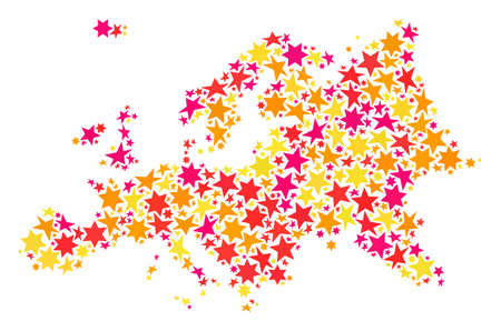 Map of Europe created with colored flat stars. Vector colored geographic abstraction of map of Europe with red, yellow, orange stars. Festive collage design for New Year illustrations.