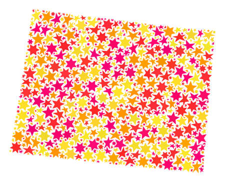Map of Wyoming State created with colored flat stars. Vector colored geographic abstraction of map of Wyoming State with red, yellow, orange stars. Festive mosaic design for Christmas illustrations. 일러스트