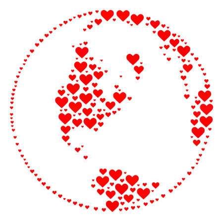 Mosaic global map of world designed with red love hearts. Vector lovely geographic abstraction of global map of world with red romantic symbols. Romantic design for patriotic projects.
