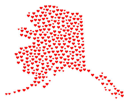 Mosaic map of Alaska State designed with red love hearts. Vector lovely geographic abstraction of map of Alaska State with red wedding symbols. Romantic design for wedding purposes. Иллюстрация