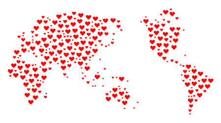 Collage map of Earth designed with red love hearts. Vector lovely geographic abstraction of map of Earth with red romantic symbols. Romantic design for dating applications.
