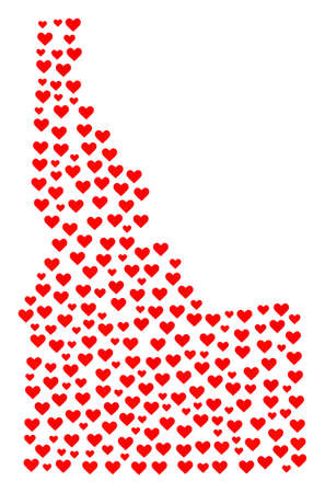Collage map of Idaho State designed with red love hearts. Vector lovely geographic abstraction of map of Idaho State with red romantic symbols. Romantic design for patriotic projects.