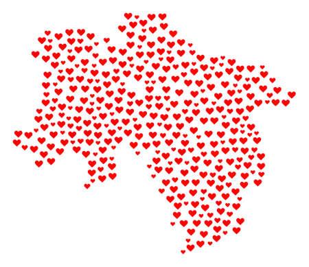 Mosaikkarte des Landes Niedersachsen komponiert mit roten Liebesherzen. Vektor schöne geographische Abstraktion der Karte des Landes Niedersachsen mit roten romantischen Symbolen. Romantisches Design für Bonusprojekte. Vektorgrafik