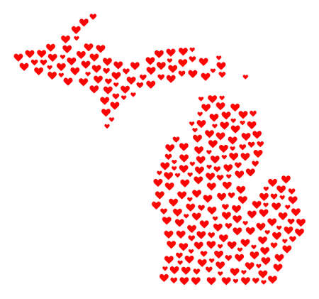 Collage map of Michigan State designed with red love hearts. Vector lovely geographic abstraction of map of Michigan State with red romantic symbols. Romantic design for patriotic projects. Ilustração