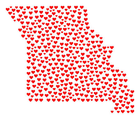 Mosaic map of Missouri State composed with red love hearts. Vector lovely geographic abstraction of map of Missouri State with red romantic symbols. Romantic design for dating applications. Ilustração