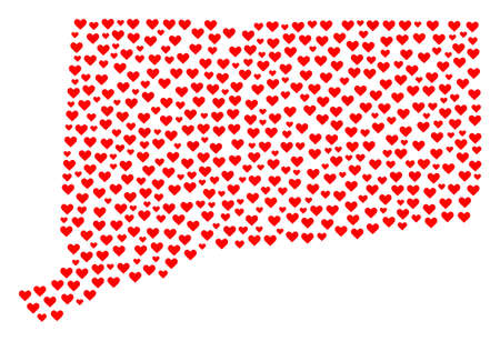 Mosaic map of Connecticut State designed with red love hearts. Vector lovely geographic abstraction of map of Connecticut State with red romantic symbols. Romantic design for political projects.