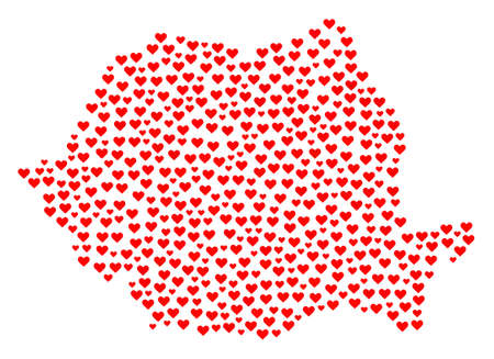 Mosaic map of Romania formed with red love hearts. Vector lovely geographic abstraction of map of Romania with red romantic symbols. Romantic design for bonus posters.