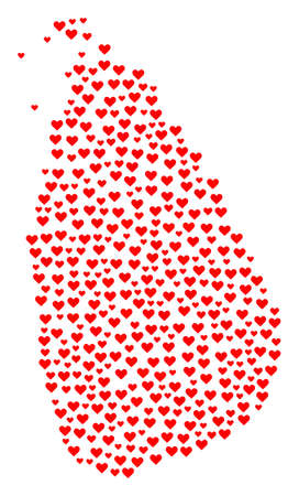Mosaic map of Sri Lanka designed with red love hearts. Vector lovely geographic abstraction of map of Sri Lanka with red romantic symbols. Romantic design for relations applications.