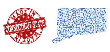 Map of Connecticut State vector mosaic and Made In grunge stamp. Map of Connecticut State formed with blue engine relations. Made in red seal with grunge rubber texture.