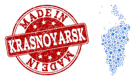 Map of Krasnoyarsk Krai vector mosaic and Made In grunge stamp. Map of Krasnoyarsk Krai formed with blue wheel relations. Made in red seal with grunge rubber texture.
