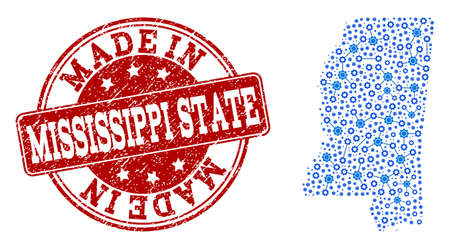Map of Mississippi State vector mosaic and Made In grunge stamp. Map of Mississippi State designed with blue cog relations. Made in red seal with grunge rubber texture.