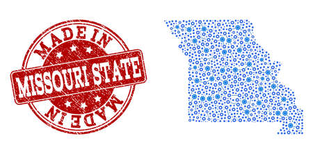 Map of Missouri State vector mosaic and Made In grunge stamp. Map of Missouri State designed with blue wheel connections. Made in red seal with grunge rubber texture.