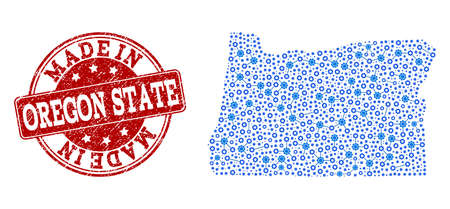 Map of Oregon State vector mosaic and Made In grunge stamp. Map of Oregon State designed with blue gear connections. Made in red seal with grunge rubber texture.