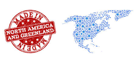Map of North America and Greenland vector mosaic and Made In grunge stamp. Map of North America and Greenland designed with blue engine links. Made in red seal with unclean rubber texture.