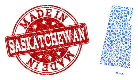 Map of Saskatchewan Province vector mosaic and Made In grunge stamp. Map of Saskatchewan Province created with blue gear relations. Made in red seal with grunge rubber texture. Illustration