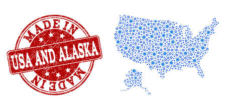 Map of USA and Alaska vector mosaic and Made In grunge stamp. Map of USA and Alaska formed with blue gear connections. Made in red seal with grunge rubber texture.