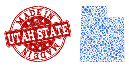 Map of Utah State vector mosaic and Made In grunge stamp. Map of Utah State created with blue wheel connections. Made in red seal with grunge rubber texture.