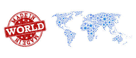 Map of world vector mosaic and Made In grunge stamp. Map of world composed with blue gear relations. Made in red seal with grunge rubber texture.