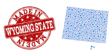 Map of Wyoming State vector mosaic and Made In grunge stamp. Map of Wyoming State created with blue cog links. Made in red seal with grunge rubber texture. 일러스트