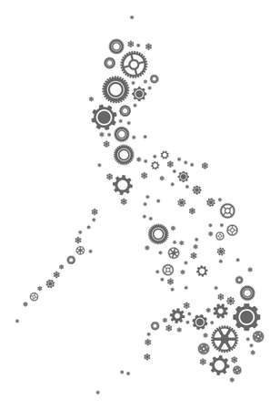 Map of Philippines designed with gray gear symbols. Vector abstract collage of map of Philippines with machinery symbols. Engineering flat design for industry illustrations.