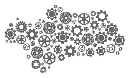 Map of Andalusia Province created with gray gear symbols. Vector abstract mosaic of map of Andalusia Province with industry symbols. Engineering flat design for industry posters.