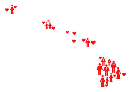Collage map of Hawaii State created with red lovely people. Vector lovely geographic abstraction of map of Hawaii State with red romantic symbols. Romantic flat design for marriage applications.
