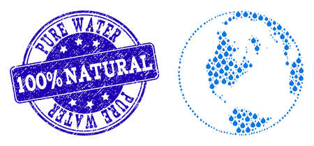 Global map of world vector mosaic and Pure Water grunge stamp. Global map of world composed with blue water drops. Seal with grunge rubber texture for natural drinking water.