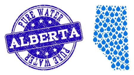 Map of Alberta Province vector mosaic and Pure Water grunge stamp. Map of Alberta Province created with blue aqua raindrops. Seal with corroded rubber texture for pure drinking water. 일러스트
