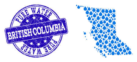 Map of British Columbia Province vector mosaic and Pure Water grunge stamp. Map of British Columbia Province created with blue liquid drops. Seal with grunge rubber texture for pure drinking water.