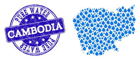 Map of Cambodia vector mosaic and Pure Water grunge stamp. Map of Cambodia formed with blue liquid dews. Seal with distress rubber texture for pure drinking water.