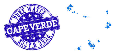 Map of Cape Verde Islands vector mosaic and Pure Water grunge stamp. Map of Cape Verde Islands composed with blue liquid drops. Seal with grunge rubber texture for pure drinking water.