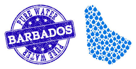 Map of Barbados vector mosaic and Pure Water grunge stamp. Map of Barbados formed with blue liquid drops. Seal with grunge rubber texture for pure drinking water.