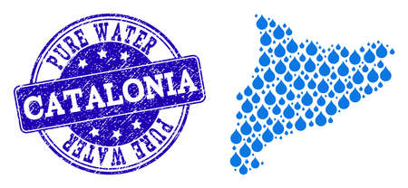 Map of Catalonia vector mosaic and Pure Water grunge stamp. Map of Catalonia created with blue water tears. Seal with grunge rubber texture for clean drinking water.