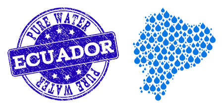 Map of Ecuador vector mosaic and Pure Water grunge stamp. Map of Ecuador formed with blue liquid drops. Seal with grunge rubber texture for clean drinking water.