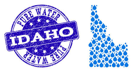 Map of Idaho State vector mosaic and Pure Water grunge stamp. Map of Idaho State created with blue aqua drops. Seal with grunge rubber texture for pure drinking water.