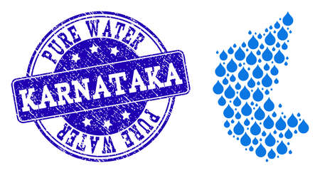 Map of Karnataka State vector mosaic and Pure Water grunge stamp. Map of Karnataka State created with blue water raindrops. Seal with distress rubber texture for pure drinking water. Illustration